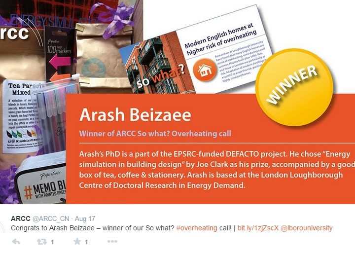 Arash Beizaee wins joint ARCC/Homes and Communities Agency research impact prize