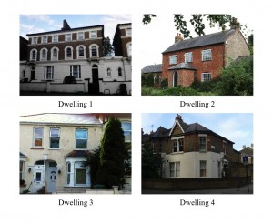 Photographs of the four case study dwellings