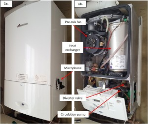 (a) Picture showing the position of Microphone A on the side of combination gas-fired boiler A. (b) Picture of combination gas-fired boiler A with the outer casing removed showing the internal components. Highlighted in (b) are the Pre-mix fan; heat exchanger (housing the burner assembly); diverter valve and circulation-pump.